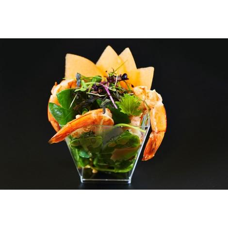 Salát mesclun s krevetami a melounem cantaloupe (90g)